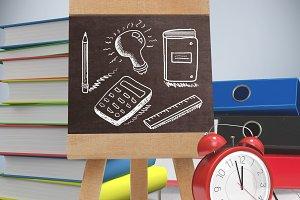 education drawings on blackboard