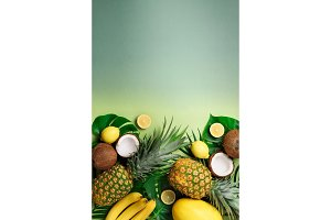 Exotic pineapples, coconuts, banana