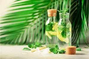 Bottle of detox water with mint