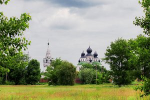 Summer landscape, old orthodox churc