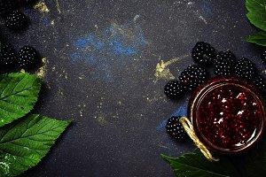 Blackberry jam, fresh berries and gr