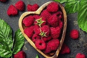 Fresh raspberries in a bowl in the s