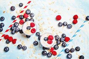 Sweet berry dessert with yogurt, blu
