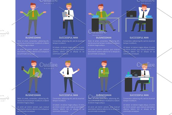 Eight Icons of Businessman Vector