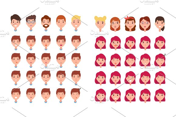 Man and Woman Emotions Set Vector