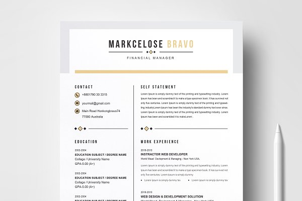Creative Resume Template Design Marketing CV EasyToUse