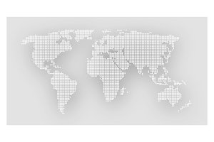 Dotted world map on gray background