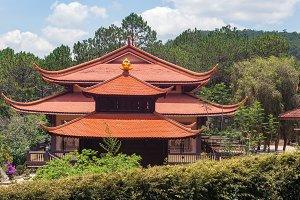 Asian style house in an asian garden