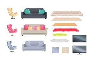 Interior Set of Sofas, Carpets