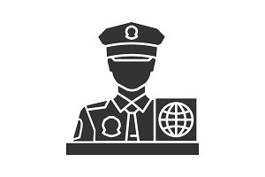 Passport control officer glyph icon