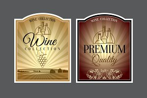 Set of labels for wine. Vector illus