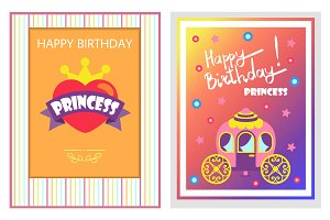 Happy Birthday Cards Set, Vector