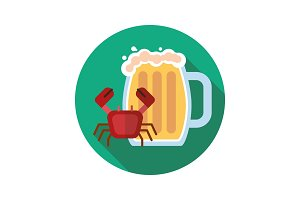 Beer mug with crab icon