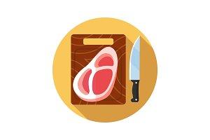 Steak on cutting board icon