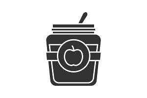 Apple jam jar glyph icon