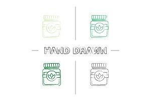 Tea jar hand drawn icons set