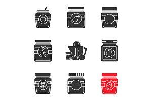 Homemade preserves glyph icons set