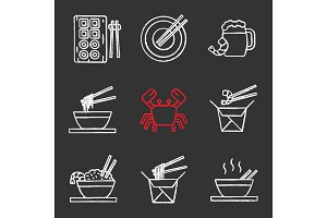 Chinese food chalk icons set