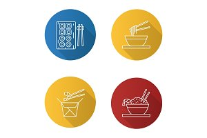 Chinese food icons set