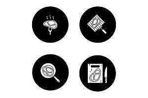 Meat preparation glyph icons set