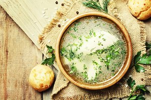 Homemade chicken broth with white me