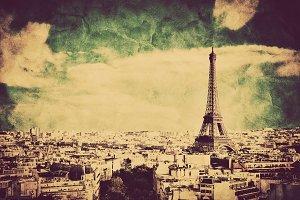 Eiffel Tower, Paris, France. Vintage