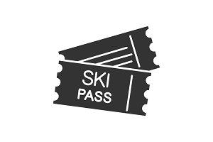 Ski pass glyph icon