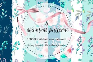 Seamless watercolor patterns.
