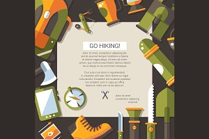 Flat Design Camping & Hiking Card