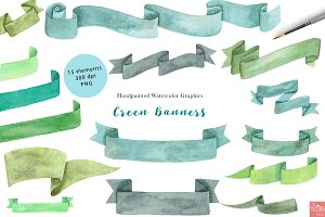Green Watercolor Banners