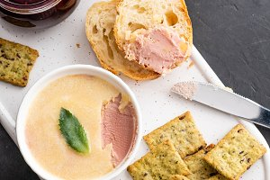 Chicken liver pate with bread on a