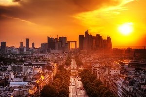 Paris at sunset, France