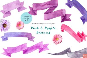Pink Watercolor Banners