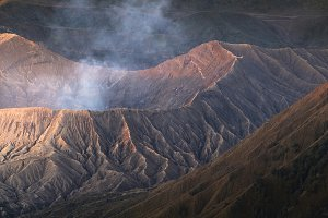 Mount Bromo, active volcano crater a