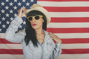 woman on American flag background