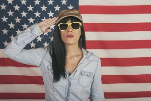 woman on American flag backgro