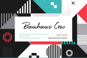 Bauhaus geometric patterns set.