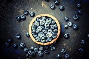 Blueberries in bowl, top view, selec