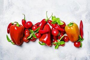 Red vegetables: tomato, bell pepper,