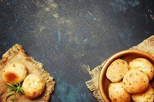 Homemade cheese buns in ball shape w
