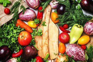 Cooking background, fresh vegetables