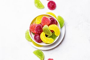 Multicolored fruit jelly, top view