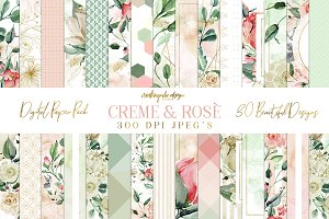 Creme and Rose Digital Papers