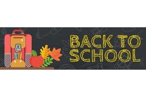 back to school black banner bag