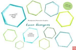 Green Watercolor Hexagons