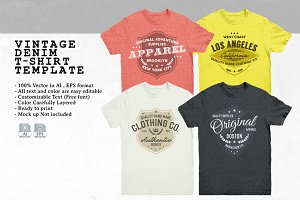 Vintage Denim T-Shirt Template