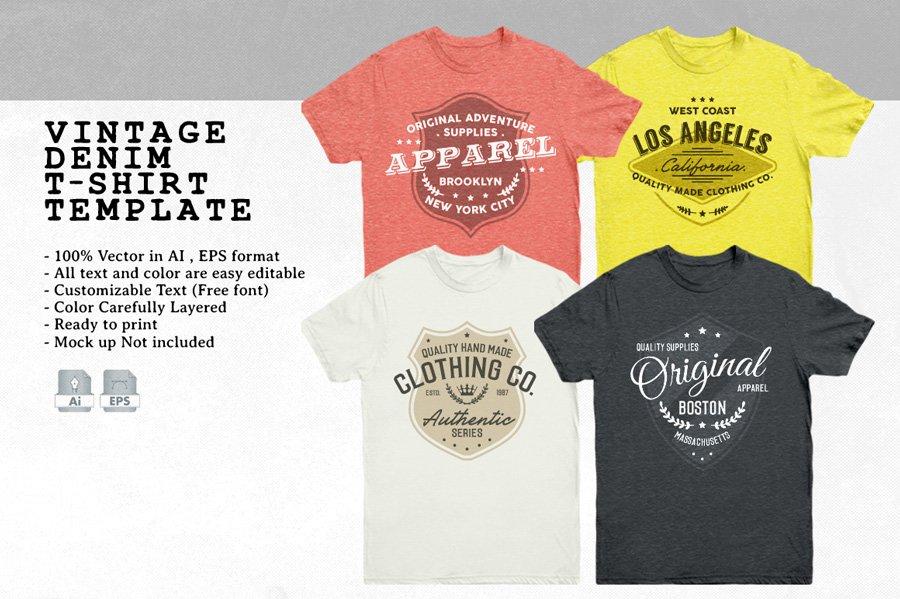 Vintage Denim T-Shirt Template ~ Templates ~ Creative Market