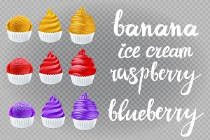 ice cream banana blueberry raspberry