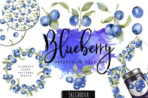 Blueberry. Watercolor clip art.