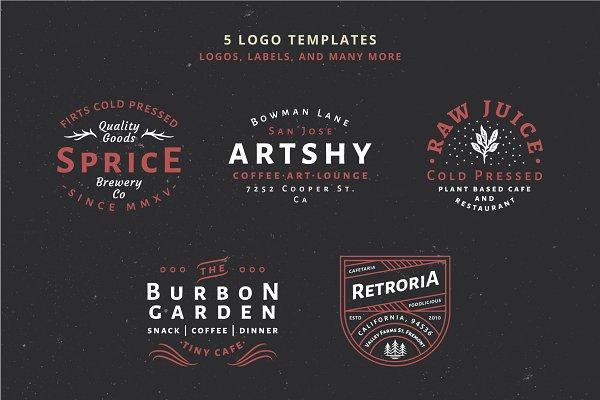 Logo Templates: Wilder Collective - 5 Vintage Badge Logos Vol 01 Part 1